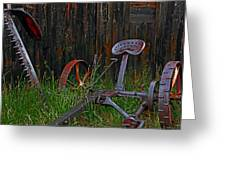 Old Mower Greeting Card by Mike Flynn