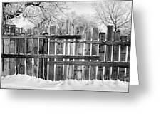 old patched up wooden fence using old bits of wood in snow Forget Saskatchewan Canada Greeting Card by Joe Fox