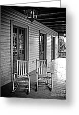 Old Porch Rockers Greeting Card by Perry Webster