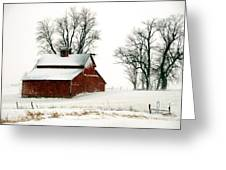 Old Red Barn In An Illinois Snow Storm Greeting Card by Kimberleigh Ladd