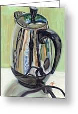Old Reliable Stainless Steel Coffee Perker Greeting Card by Jennie Traill Schaeffer