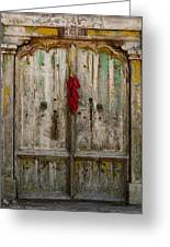 Old Ristra Door Greeting Card by Kurt Van Wagner