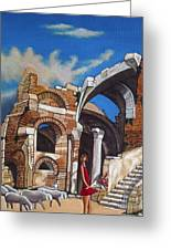 Old Ruins Flower Girl And Sheep Greeting Card by William Cain