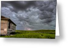 Old School House And Lightning Greeting Card by Mark Duffy