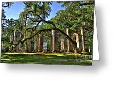 Old Sheldon Church Ruins 2 Greeting Card by Reid Callaway