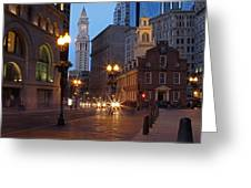 Old State House And Custom House In Boston Greeting Card by Juergen Roth