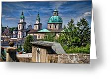 Old Town Salzburg Austria In Hdr Greeting Card by Sabine Jacobs