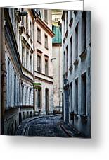 Old Town Street Greeting Card by Gynt