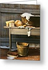 Old Wash Tub With Soap And Scrub Brushes Greeting Card by Sandra Cunningham