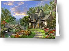 Old Waterway Cottage Greeting Card by Dominic Davison