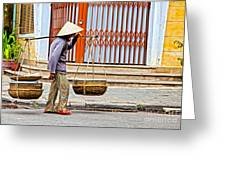 Old Woman In Hoi An Vietnam Greeting Card by Fototrav Print