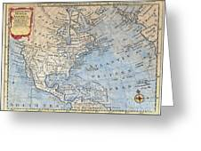 Old World Map Of North America Greeting Card by Inspired Nature Photography By Shelley Myke