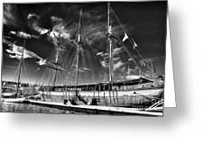 Old World Sailboat Greeting Card by John Rizzuto