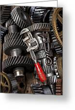Old Wrenches On Gears Greeting Card by Garry Gay