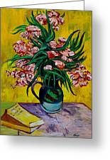 Oleanders Greeting Card by Karon Melillo DeVega