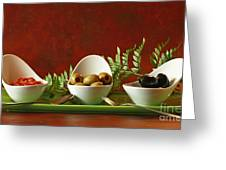 Olives And Salsa Delight Greeting Card by Inspired Nature Photography By Shelley Myke