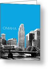 Omaha Skyline - Ice Blue Greeting Card by DB Artist