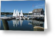On a beautiful Maine summer morning on the island of North Havenjunior sailing participants rig sailboats Greeting Card by Downeast Yacht Shots- Ted Fisher Photography