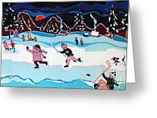 On Frozen Pond Greeting Card by Joyce Gebauer