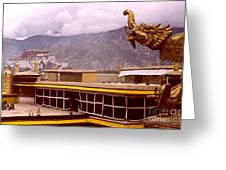 On Jokhang Monastery Rooftop Greeting Card by Anna Lisa Yoder
