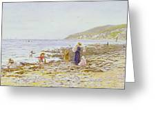 On The Beach Greeting Card by Helen Allingham