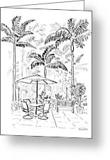 On The Lanai Ink Only Greeting Card by Diane Thornton