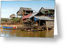 On The Shores Of Tonle Sap Greeting Card by Douglas J Fisher