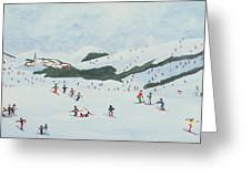 On The Slopes Greeting Card by Judy Joel