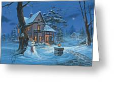 Once Upon A Winter's Night Greeting Card by Michael Humphries