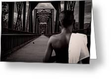 One Boy One Pigeon One Bridge Greeting Card by Bob Orsillo