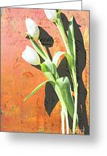 Orange Abstract Tulips Greeting Card by Anahi DeCanio