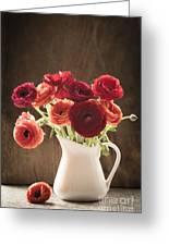 Orange And Red Ranunculus Flowers Greeting Card by Jan Bickerton