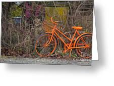 Orange Bike Greeting Card by Graham Foulkes
