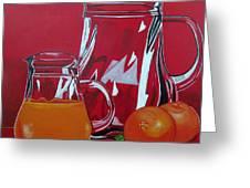 Orange Juggle Greeting Card by Sandra Marie Adams