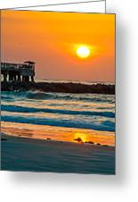 Orange Sunshine At Jetty Park Greeting Card by Cliff C Morris Jr