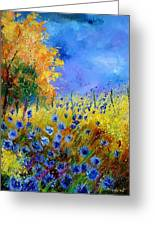 Orange Tree And Blue Cornflowers Greeting Card by Pol Ledent