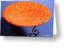 Orange Yellow And White Murrini Bowl With Stand Greeting Card by P Russell