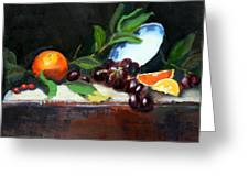 Oranges And Grapes Greeting Card by Gaye White