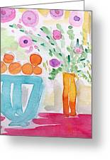 Oranges In Blue Bowl- Watercolor Painting Greeting Card by Linda Woods