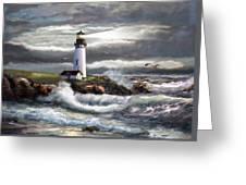 Oregon Lighthouse Beam of hope Greeting Card by Gina Femrite