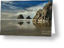 Oregon Sea Stack Reflections Greeting Card by Adam Jewell