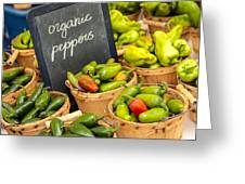 Organic Peppers At Farmers Market Greeting Card by Teri Virbickis