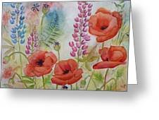 Oriental Poppies Meadow Greeting Card by Carla Parris
