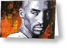 Original Palette Knife Painting Kobe Bryant Greeting Card by Enxu Zhou