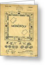 Original Patent For Monopoly Board Game Greeting Card by Edward Fielding