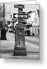 Orleans One Way Greeting Card by John Rizzuto