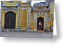 Ornate Buildings In The City Centre Of Hanoi Greeting Card by Sami Sarkis