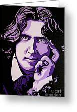 Oscar Wilde Greeting Card by Rebecca Mott