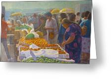 Otara Market. Auckland Nz. Greeting Card by Terry Perham
