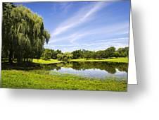 Otsiningo Park Reflection Landscape Greeting Card by Christina Rollo